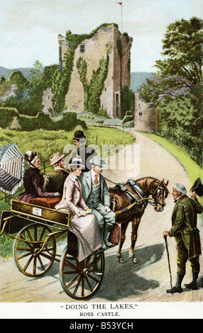 Old vintage Irish picture postcard  EDITORIAL USE ONLY - Stock Image