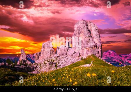 Stunning sunset over Cinque Torri, Italian Dolomites. The Five Pillars in Dolomites mountains, Alto Adige, South Tyrol, Italy - Stock Image