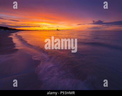 Sunset in Zingst - Stock Image