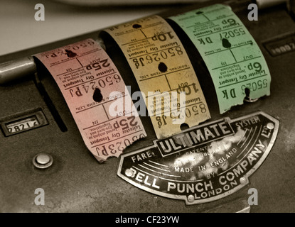 Ultimate Bell Punch Company Bus Ticket Machine with coloured tickets Made in England - Stock Image
