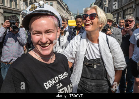 London, UK. 19th April 2019. Dame Emma Thompson waits to speak at Extinction Rebellion's Sea of Protest in Oxford Circus around large pink yacht, names after the Honduran environmental activist Berta Cáceres, assassinated in 2016. She came as a part of the activities to show 'Love For The Earth' on the 5th day of the occupation, but which were interrupted by police shortly after she spoke. Credit: Peter Marshall/Alamy Live News - Stock Image