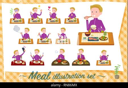 A set of school boy in sportswear about meals.Japanese and Chinese cuisine, Western style dishes and so on.It's vector art so it's easy to edit. - Stock Image