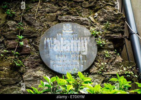 A plaque to boxer Jack Mcauliffe in Cork, Ireland. - Stock Image