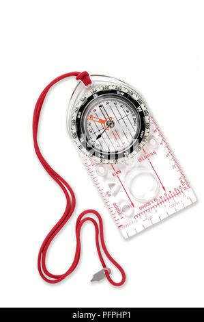 Plastic compass, close-up - Stock Image