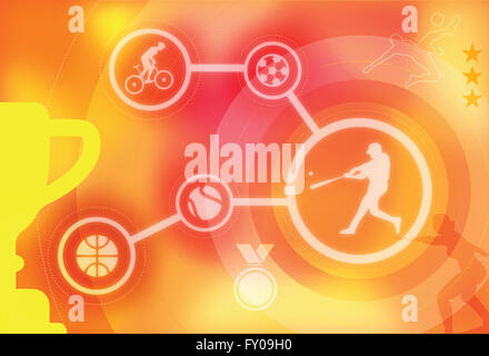 Illustrative image of collage representing various types of sports - Stock Image