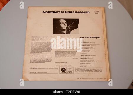 Merle Haggard's 1969 studio album A Portrait of Merle Haggard - Stock Image