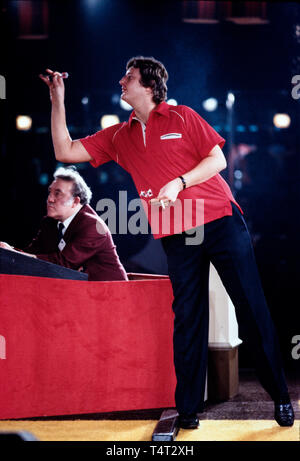 Eric Bristow, The Crafty Cockney, World Champion Darts Player at tournament in Burton upon Trent in Staffordshire England in 1986 - Stock Image