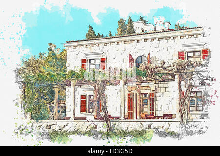 Watercolor sketch or illustration of a house. - Stock Image
