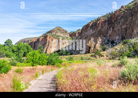 Main Loop path trail in Bandelier National Monument in New Mexico in Los Alamos with canyon cliffs - Stock Image