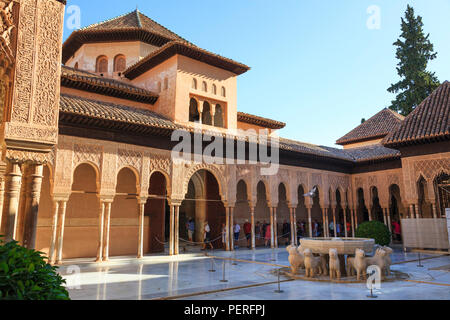 The Court of the Lions and fountain at the Alhambra Palace in Granada Spain - Stock Image