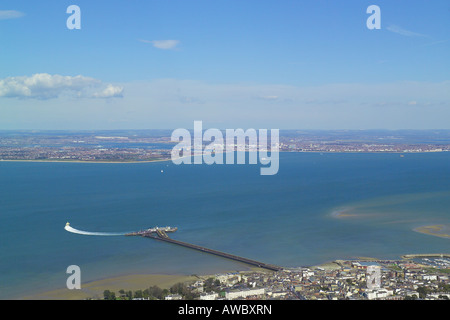 Panoramic aerial view of Ryde and the Pier Head Station on the Isle of Wight with views across the Solent to Portsmouth - Stock Image
