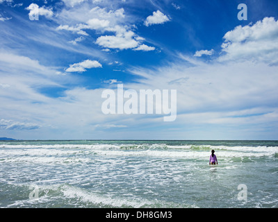 Girl in the sea - Stock Image