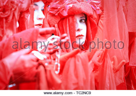 London, UK. 04th June, 2019. The Extinction Rebellion's 'The Invisible Circus' group protest against Trump in Whitehall. People in central London protest against US President Donald Trump and his current visit to the United Kingdom. Credit: Imageplotter/Alamy Live News - Stock Image