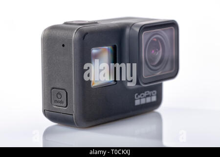 Detail of the new GoPro Hero 7 Black isolated on white - Stock Image