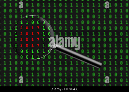 2017 message found within page of binary code - Stock Image