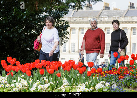 Bath, Somerset, UK, 29th March, 2019. People enjoying the warm sunshine are pictured walking past colourful Tulips in Royal Victoria Park. Credit:  Lynchpics/Alamy Live News - Stock Image