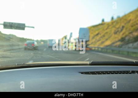 Overtaking at German autobahn motorway - Stock Image