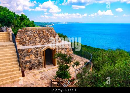 Pajaru on Salento adriatic coast in Apulia - South Italy -   typical rural dry stone buildings similar to Trulli - Stock Image
