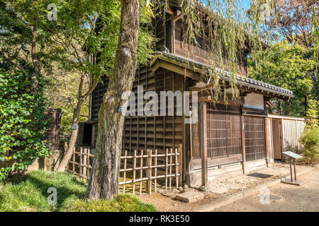 Schneiderei Werkstatt im Edo Tokyo Open Air Architectural Museum, Tokio, Japan | Tailor Workshop Store exterior, Edo Tokyo Open Air Architectural Muse - Stock Image