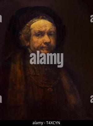 Self-portrait, Rembrandt, circa 1669, Galleria degli Uffizi, Uffizi Gallery, Florence, Tuscany, Italy - Stock Image