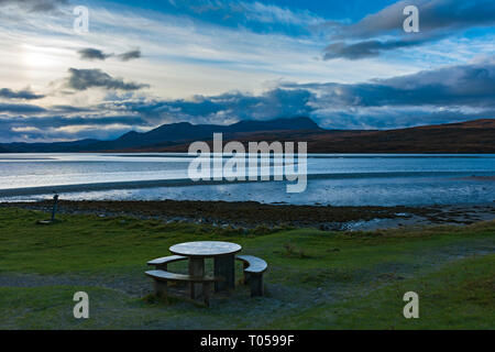 Ben Hope from the Kyle of Tongue, Sutherland, Scotland, UK - Stock Image