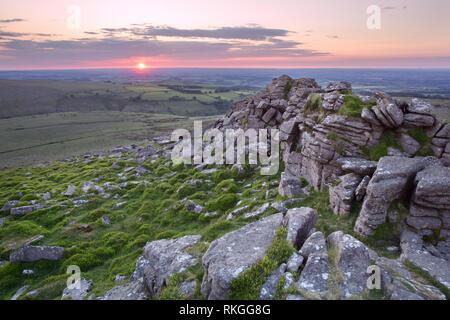 Sunset Belstone tor Dartmoor national park Devon Uk - Stock Image