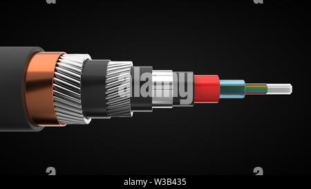 inter continental internet cable cut off. underwater cable showing inside. suitable for, internet, industry, and technology themes. 3d illustration - Stock Image