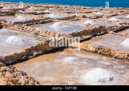 Harvesting sea salt from the ancient salt pans in Marsalforn, Gozo, Malta. - Stock Image