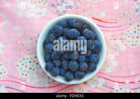 Fresh blueberries in a white bowl set on a pink background. - Stock Image