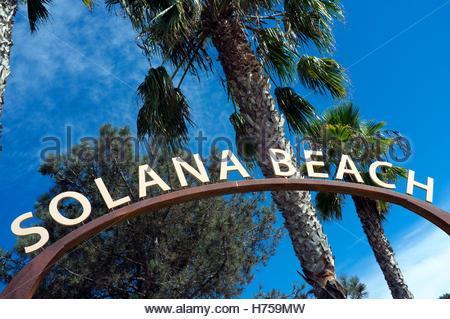 Solana Beach signage, in Solana Beach (San Diego County), California, USA. - Stock Image