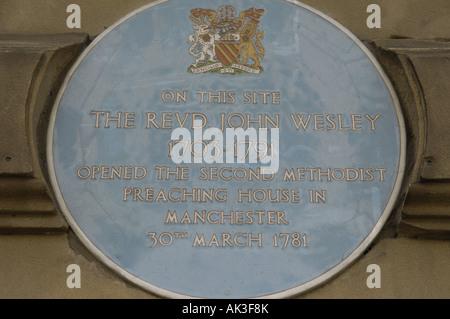 blue history heritage plaque john wesley methodist - Stock Image