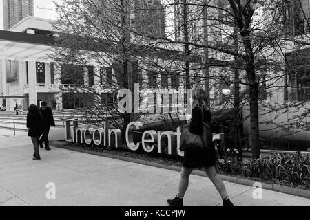 Entrance and sign at the Lincoln Center for the Performing Arts in Manhattan, New York City. - Stock Image