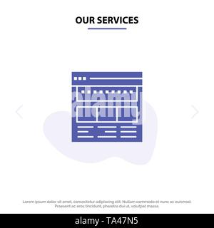 Our Services Website, Browser, Business, Corporate, Page, Web, Webpage Solid Glyph Icon Web card Template - Stock Image