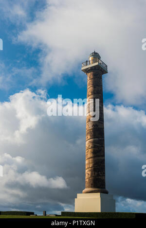The Astoria Column stands among the clouds; Astoria, Oregon, United States of America - Stock Image
