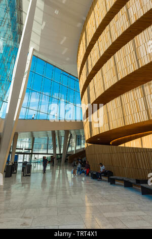 Oslo Opera House, view of the foyer and atrium inside the Oslo Opera House, Norway. - Stock Image
