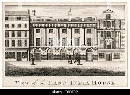 View of East India House, London Headquarters of the East India Company,  Leadenhall Street, London UK, 1780 - Stock Image
