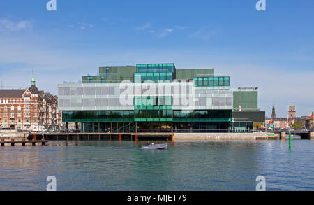 Copenhagen, Denmark. 5th May, 2018. The BLOX building, a new prestige building for architecture and design on Christians Brygge at the waterfront at Frederiksholm Canal next to the Black Diamond in the inner harbour. The building houses the Danish Architecture Centre and a number of companies working with future solutions for cities. The building was inaugurated by H.M. Queen Margrethe II yesterday - today open house to a festive opening day. BLOX is the original name of the old brew-house property where it is situated. Architects OMA. Credit: Niels Quist/Alamy Live News - Stock Image