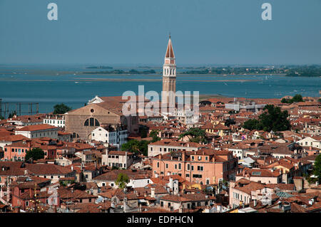 View NE from St Marks Bell Tower Venice Italy with out of kilter Campanile of Chiesa di San Franceso della Vigna - Stock Image
