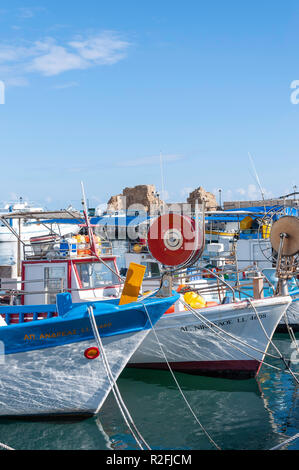 Traditional fishing boats in Paphos Harbour, Paphos (Pafos), Pafos District, Republic of Cyprus - Stock Image