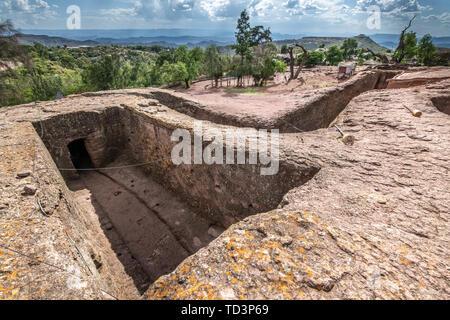 Rock hewn monolithic church of Bet Maryam (Church of St. Mary) in Lalibela , Ethiopia - Stock Image