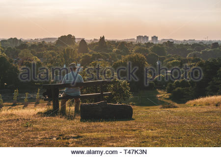A lone man sits on a bench looking out over a green West London - Stock Image