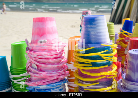 Buckets on Weymouth Beach, Dorset, UK. - Stock Image