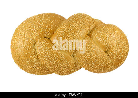 Braided bun with sesame isolated on white background - Stock Image