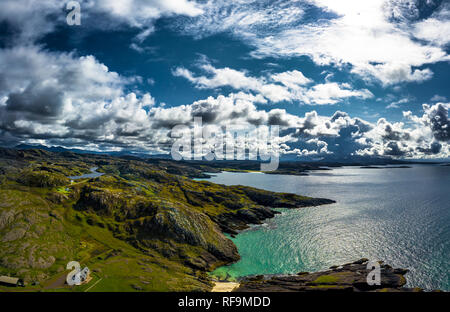 Spectacular Atlantic Coast With Remote House At Clachtoll Beach Near Lochinver In Scotland - Stock Image