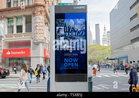An advertisement for HUDSON YARDS on a Linknyc display on Broadway and East 13th Street in Greenwich Village, Manhattan, New York City - Stock Image