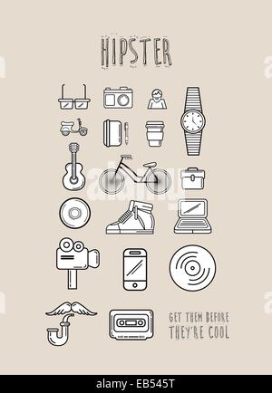 Hipster icons in simple design - Stock Image