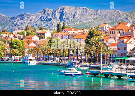 Town of Cavtat colorful Adriatic waterfront view, south Dalmatia, Croatia - Stock Image