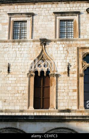 The Sponza Palace showing detail of the Venetian Gothic Windows Dubrovnik Dalmatia Croatia - Stock Image