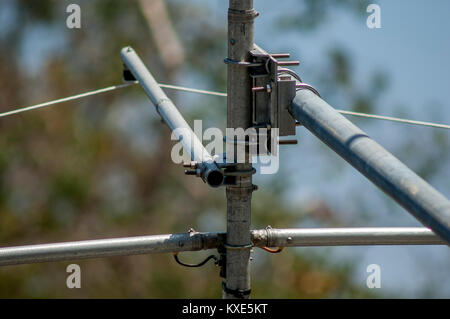 Beam antenna set up for ham radio field day operations. - Stock Image