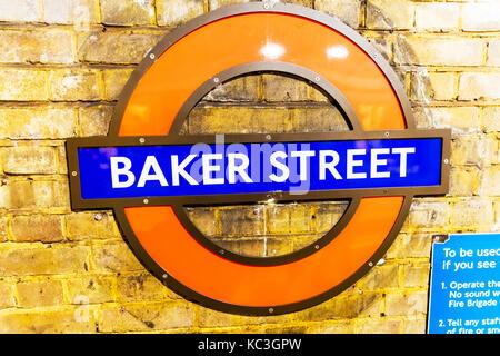 London Underground sign, London Underground Baker Street sign, Baker Street underground station sign, Baker Street - Stock Image